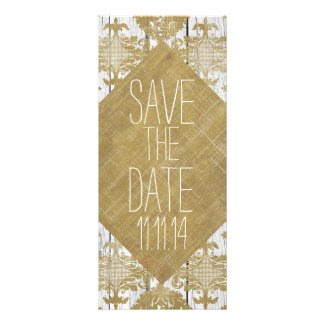 Save the Date Vintage Gold Damask and Wood Custom Invite