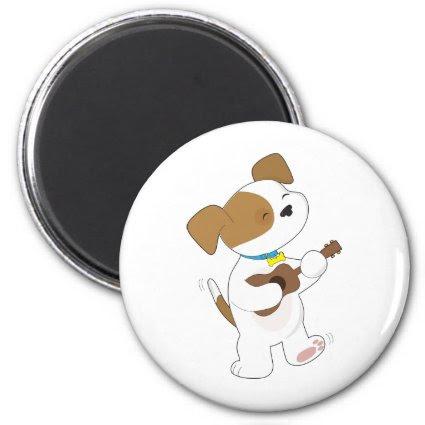 Cute Puppy Ukulele Fridge Magnets
