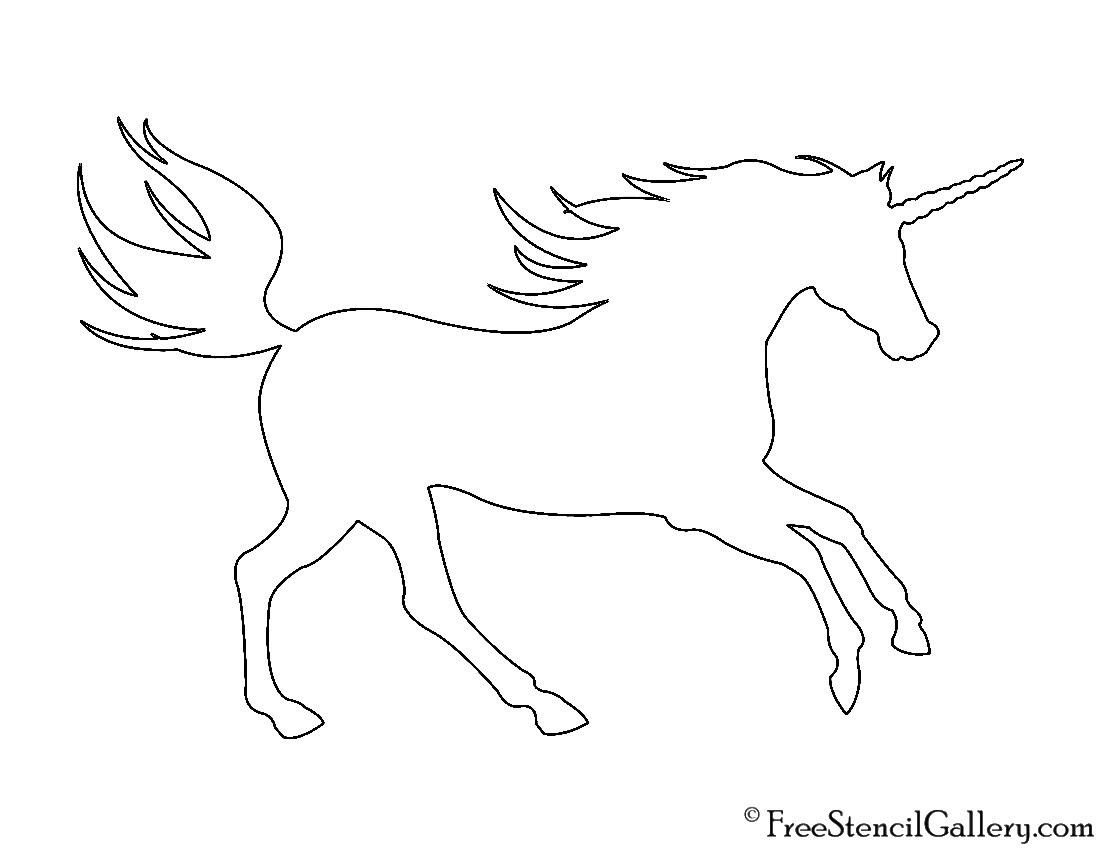 Unicorn Silhouette 01 Stencil | Free Stencil Gallery