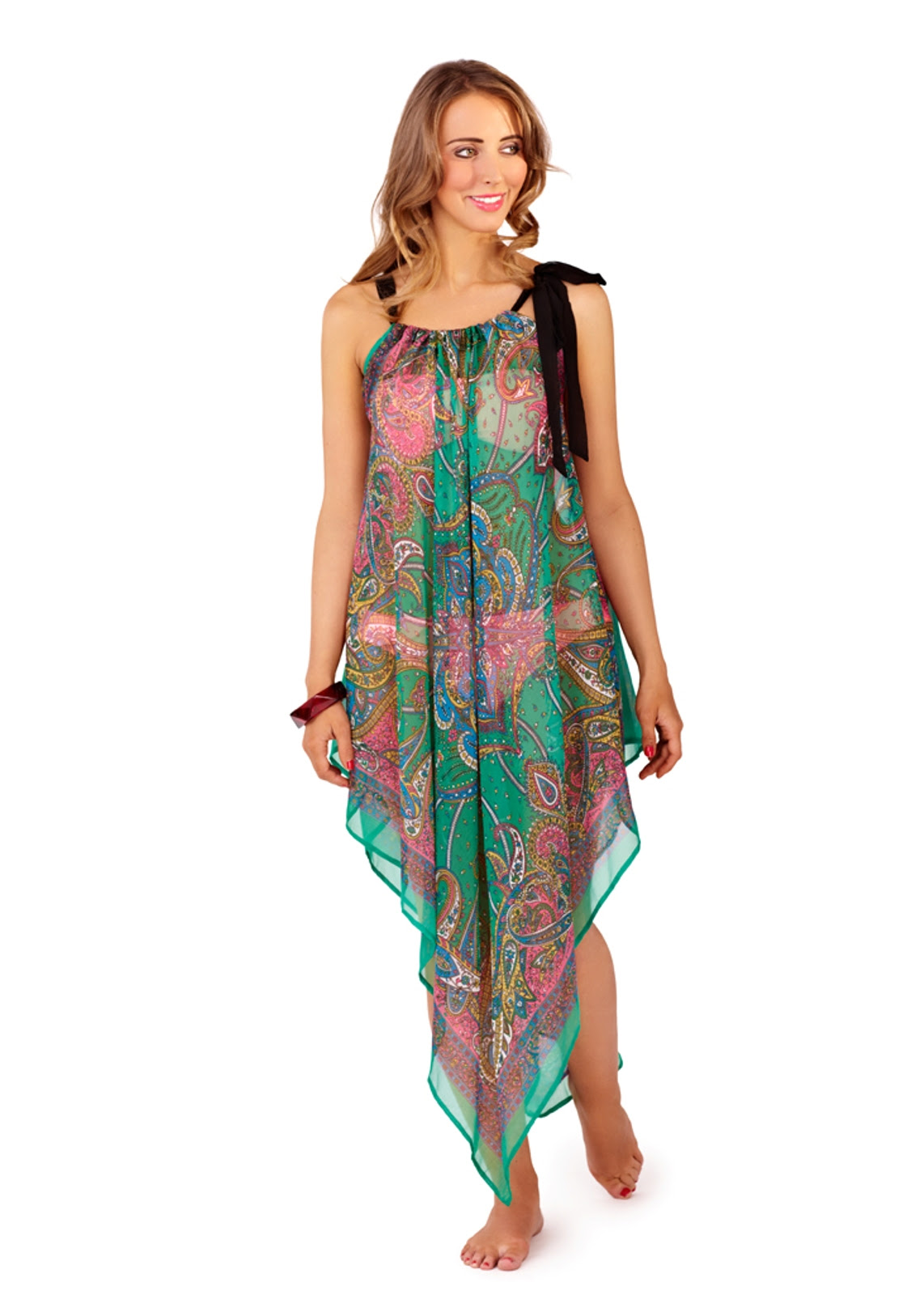 womens chiffon kaftan beach cover up short long paisley