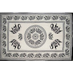 "Mandala Elephant Tapestry Cotton Wall Hanging 90"" x 60"" Single White"