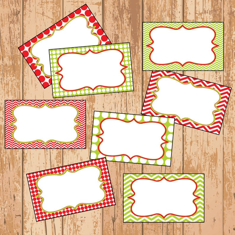 MINI Red and Green Chevron and Polkadot Christmas Labels - Gift ...