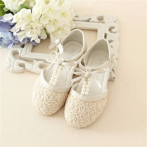 ivory pearl flower girls shoes bow sandals sangmain