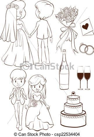 Vector Clipart of A plain sketch of a wedding ceremony