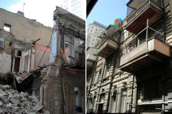 Many buildings are already demolished on Dilara Aliyeva Street. 22 March 2013.