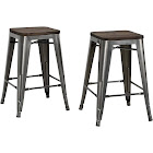 DHP Fusion Industrial Counter Stool, Charcoal - 2 count