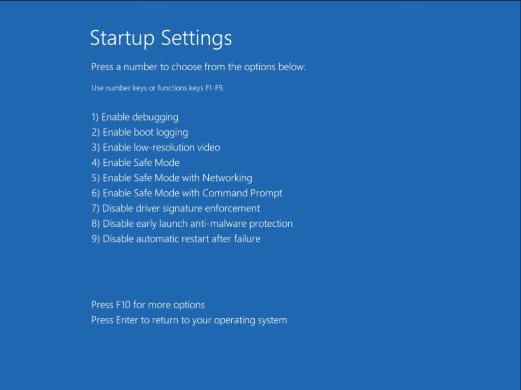 startup settings on Windows 8