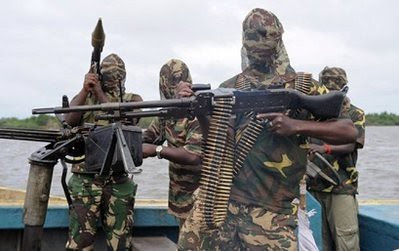 Armed militants from the Movement for the Emancipation of the Niger Delta. There was a bomb explosion in Warri on March 15, 2010. by Pan-African News Wire File Photos