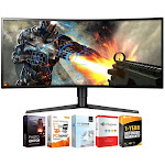 "LG 34"" UltraWide QHD Curved LED Gaming Monitor w/ Software + Warranty Bundle"