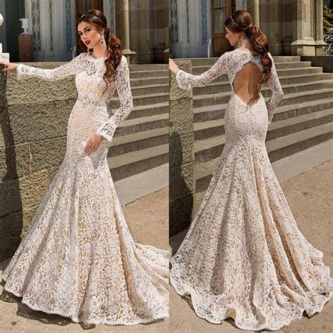 2017 New Fashion Lace Mermaid Wedding Dresses Long Sleeve