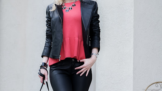 Fall color trend: Red Peplum Top - outfit for petites