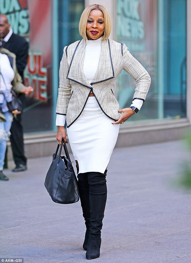 Radiant: Mary J. Blige was a vision in white as she was spotted out in New York City on Friday
