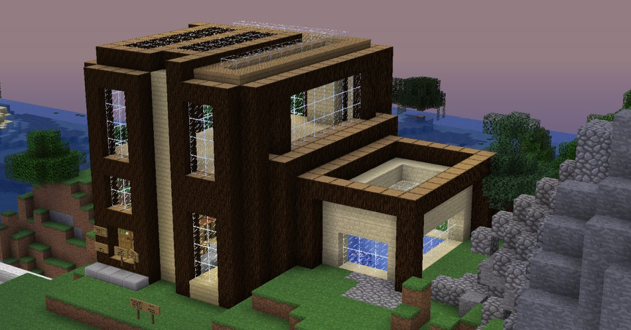 Wooden modern house Minecraft Project