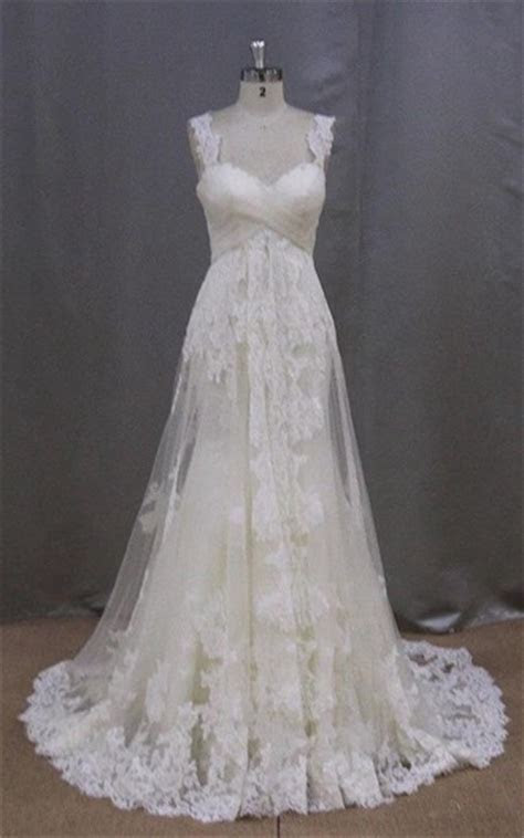 Long Sleeveless A Line Lace Wedding Dress With Empire