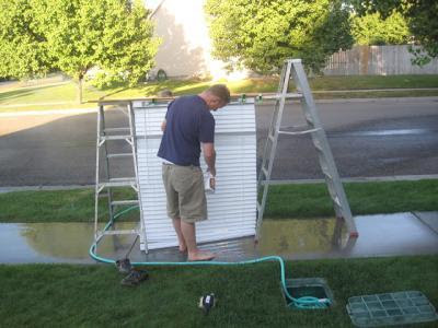 Cleaning Grime Build-up Blinds in Western NY by Knee-Pad Maids