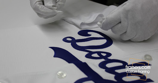 Framing an LA Dodgers Jersey for Major League Baseball Showing Both Sides