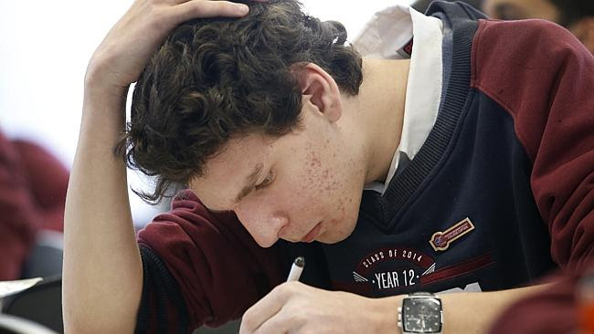 Hard at work: a student tackles the English exam at Bentleigh Secondary College. Picture:
