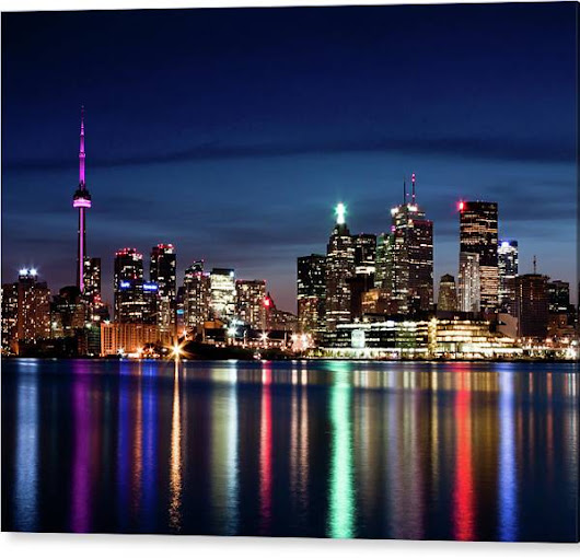 Limited Time Promotion: Toronto Skyline At Night From Polson St No 2 Stretched Canvas Print