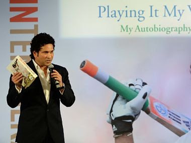 "Sachin Tendulkar speaks after launching his autobiography ""Playing It My Way"", in Mumbai on November 5, 2014. AFP"