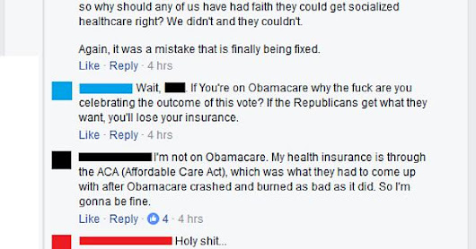 Man celebrating vote to repeal Obamacare learns he is on Obamacare. - Imgur
