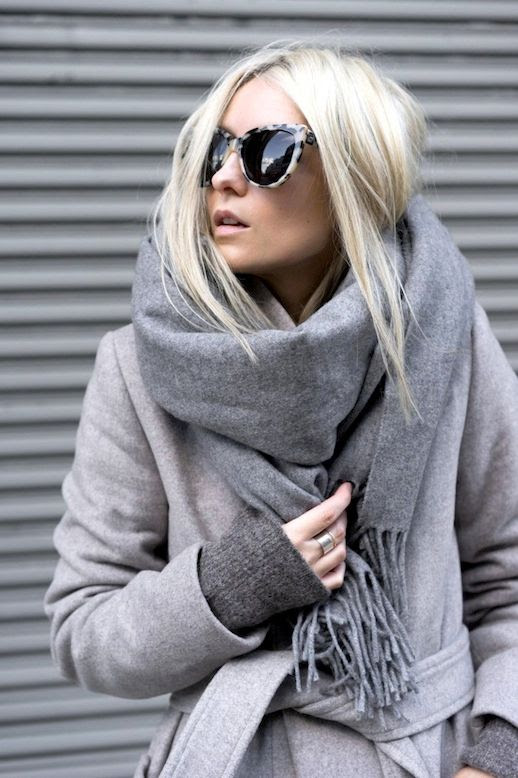 Le Fashion Blog Winter Style Tortoise Sunglasses All Grey Look Oversized Scarf Longline Coat Charcoal Sweater Via FIGTNY