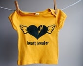 Heart Breaker Organic T-Shirt -Hand dyed mustard yellow and Screen Printed in Cadet Blue Ink - 3-6 months