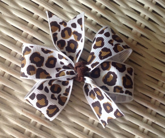 White Leopard Print 3 Hair Bow by mlmissal on Etsy