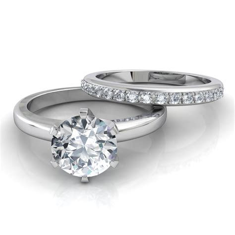 Six Prong Solitaire Engagement Ring & Pavé Wedding Band