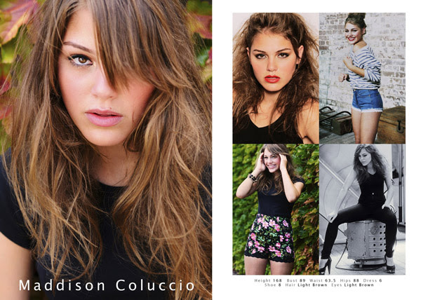 Maddy model comp card, shots from one portfolio shoot.