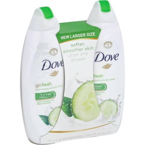 Dove Body Wash, Cool Moisture, Go Fresh - 2 pack, 22 fl oz body washes