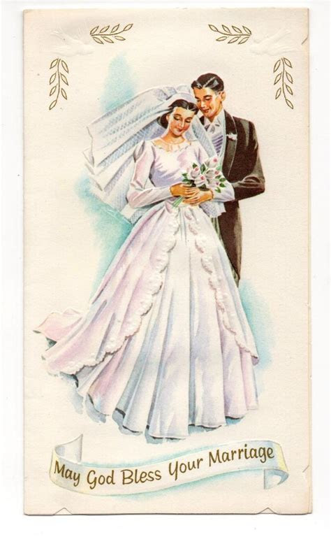 Vintage Wedding Greeting Card Bride & Groom   Vintage