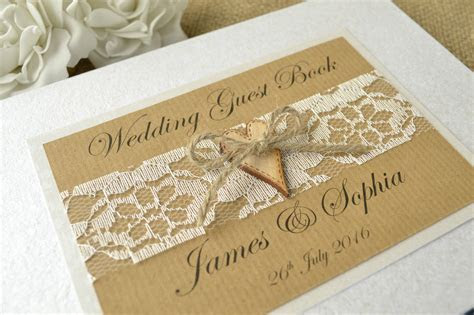 Rustic Style Personalised Wedding Guest Book. Wooden Heart