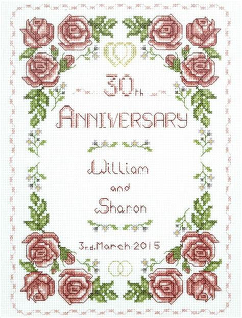 Rose 30th Anniversary Sampler cross stitch kit for a in