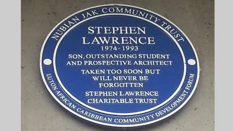 A blue plaque has been put up as a memorial to Stephen Lawrence. Pic: