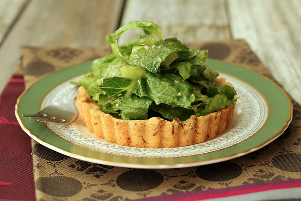 Caesar Tartlets with Sweet Garlic Butter Crusts