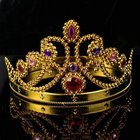 Cosplay King Crown Queen Crown Plastic Gold Silver Diamond
