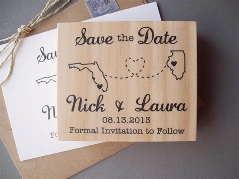 Save the Date Rubber Stamp with Connecting States or