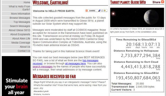 A screenshot of the updated 'HELLO FROM EARTH' website.