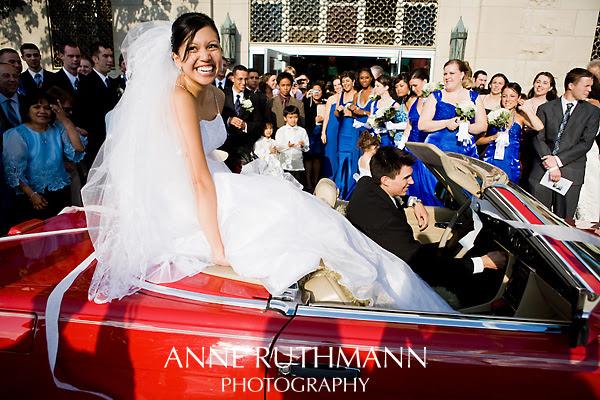 Bride & Groom in Mercedes Converitble