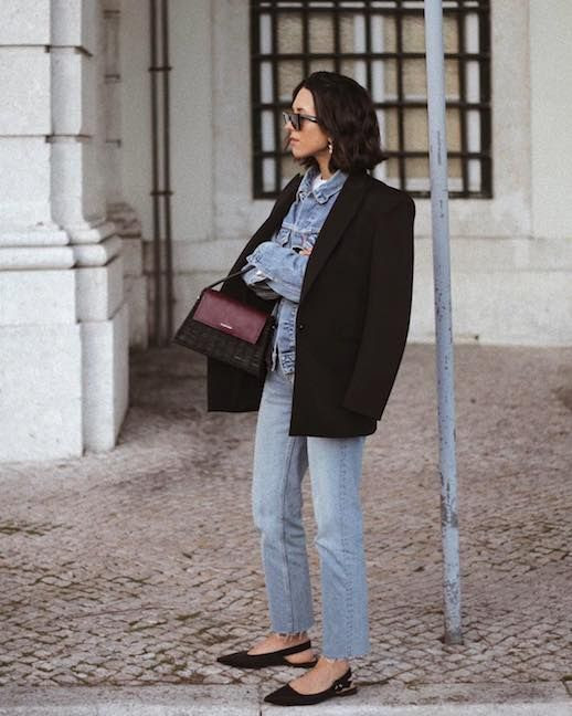 photo Le-Fashion-Blog-Casual-Chic-Debora-Rosa-Sunglasses-Black-Blazer-Denim-Jacket-Light-Wash-Raw-Hem-Jeans-Black-Slingback-Flats-Via-Deborabrosa.jpg