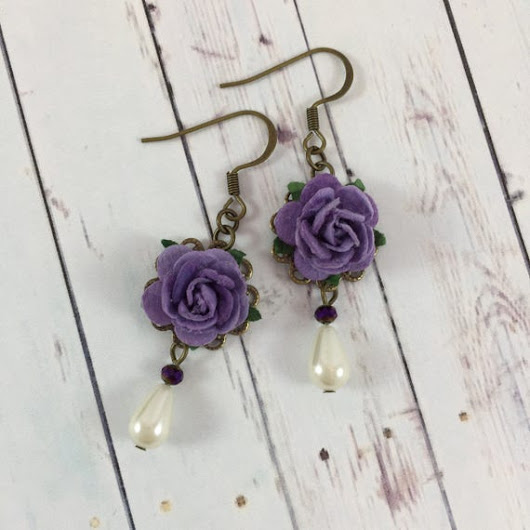 Flower and Pearl Earrings with Dark Purple by MonicaRudyJewelry