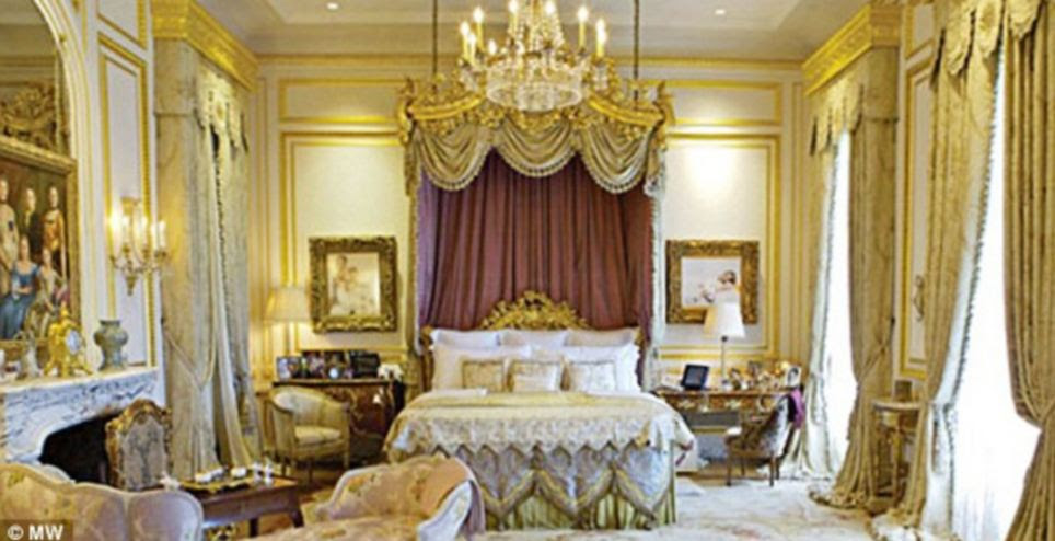 Italian marble walls, French limestone floors and gold-embossed leather wall coverings all add to the decadent feel