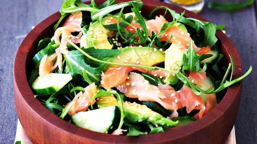 3 - Smoked Salmon, Avocado, and Arugula Salad2