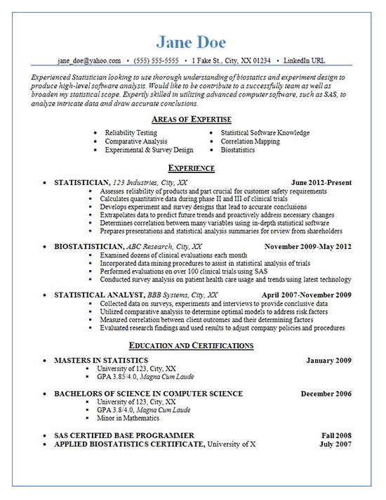 1714 resume statistician