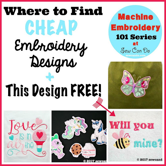 Machine Embroidery 101: Saving Money, Cheap Designs + FREE Valentine's Design File!