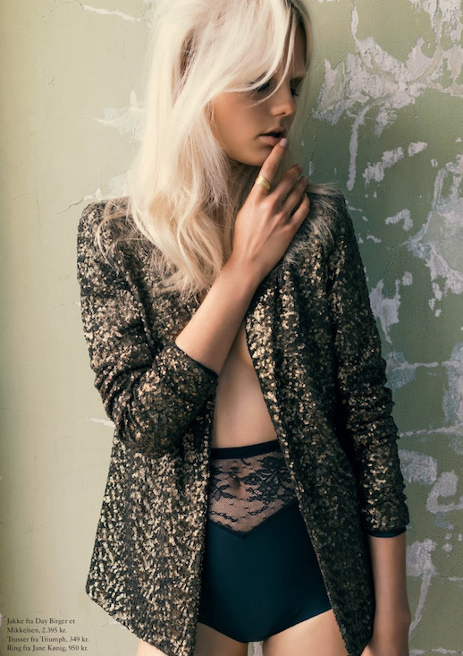 LE FASHION BLOG EDITORIAL EUROWOMAN MAGAZINE DAY BIRGER GOLD SEQUIN COAT HIGH WAIST TRIUMPH LACE LINGERIE UNDERWEAR SHORTS BLEACH BLONDE HAIR BLEACHED EYEBROWS NATURAL NUDE BEAUTY  I En Villa In A Villa November 2013 Photographer: Katrine Rohrberg Stylist: Gertrud Maria Bønnelykke Hair: Søren Bach Make-up: Trine Skjøth  Model: Josefine Nielsen 7 photo LEFASHIONBLOGEDITORIALEUROWOMANMAGAZINESEQUINCOAT7.png