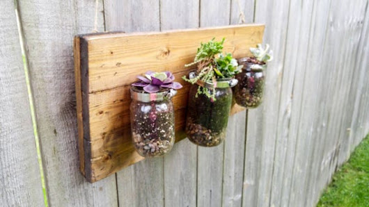 Rustic Mason Jar Planter / Reclaimed Wood Sign / French