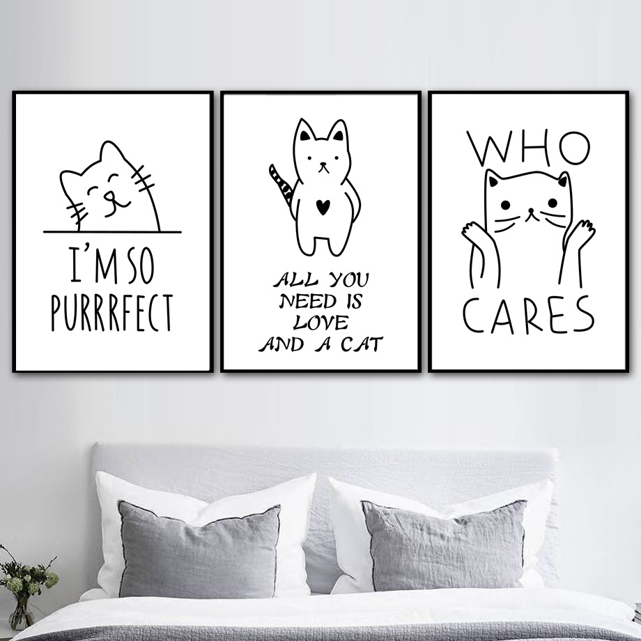 Cartoon Black White Cat Quotes Wall Art Canvas Painting Nordic