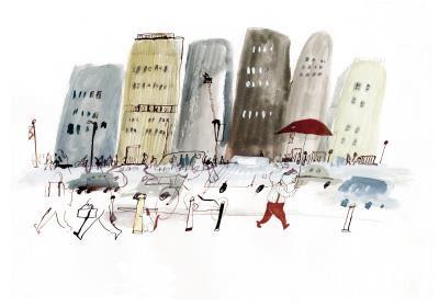 吳欣芷創作《Farewell》以簡單的 筆觸、色彩畫出孤單。(吳欣芷提供)