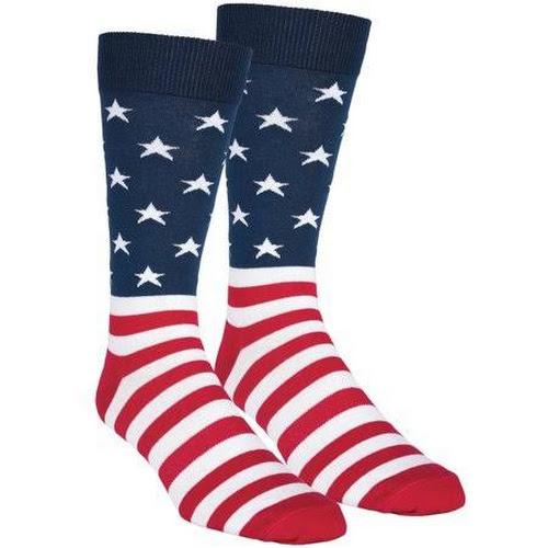 K Bell American Flag Crew Socks - Patriotic Unisex One Size Cotton Blend 20106